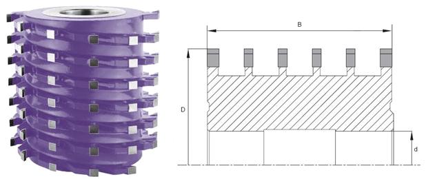 Фрезы многоножевые спиральные с напайными твердосплавными ножами G3
